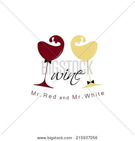 Red and white wine. Vector illustration. Design element for tasting, menu, wine list, winery, shop.