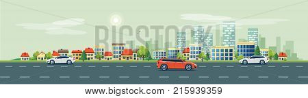 Flat vector cartoon style illustration of urban landscape road with cars skyline city office buildings and family houses in small town village in backround. Traffic on the street.