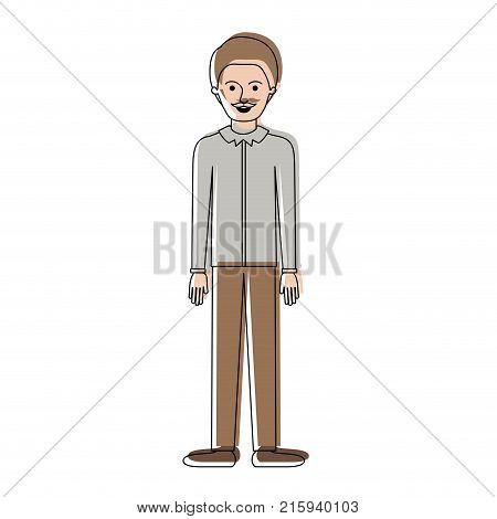 man full body with shirt and pants and shoes with short hair and moustache in watercolor silhouette vector illustration
