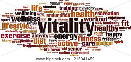 Vitality word cloud concept. Vector illustration on white