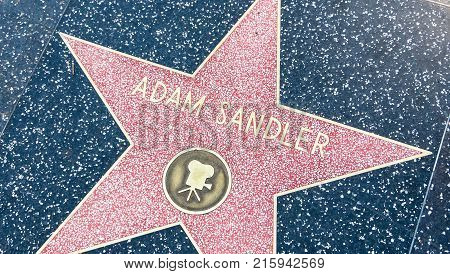 LOS ANGELES USA - AUGUST 20 2017: Adam Sandler's star in the Hollywood Walk of Fame. Sandler received the star in 2011. Editorial.