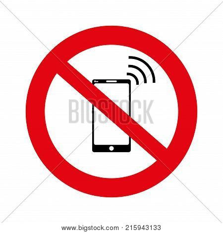 No cell, No mobile phone sign banner, No phone sign on white background, Hand on a no mobile phones sign isolated in white, illustration, vector,