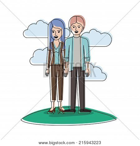 couple in watercolor silhouette scene outdoor and her with blouse and jacket and pants and heel shoes with layered hair and him with shirt and jacket and pants and shoes with middle part hairstyle vector illustration