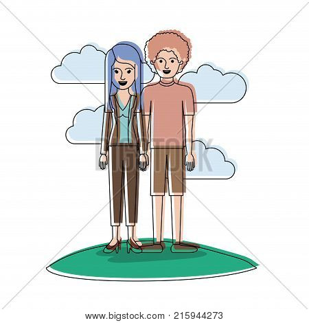 couple in watercolor silhouette scene outdoor and her with blouse and jacket and pants and heel shoes with layered hair and him with t-shirt and short pants and shoes with curly hair vector illustration