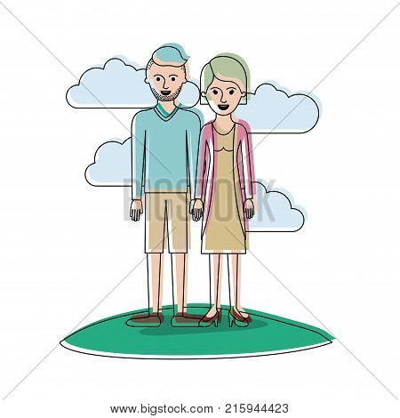 couple in watercolor silhouette scene outdoor and him with t-shirt long sleeve and short pants and shoes with high fade haircut and stubble beard and her with blouse and jacket and skirt and heel shoes with short hair vector illustration