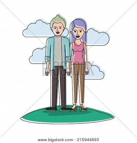 couple in watercolor silhouette scene outdoor and him with shirt and jacket and pants and shoes with short hair and her with t-shirt sleeveless and pants and heel shoes with long straight hair vector illustration