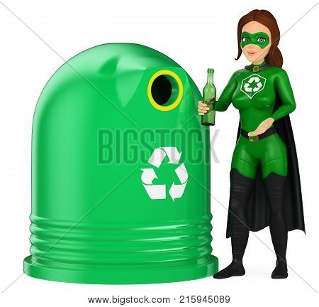 3d environment people illustration. Woman superhero of recycling putting a glass bottle in a container. Isolated white background.