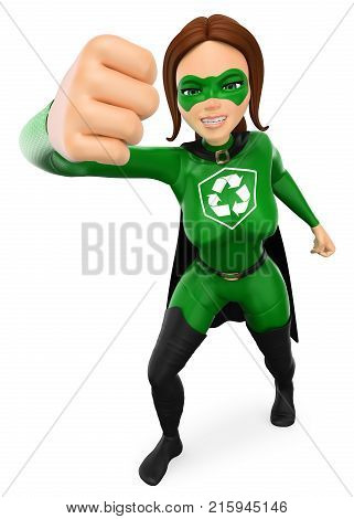 3d environment people illustration. Woman superhero of recycling giving a cartoon strong punch. Isolated white background.