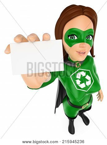 3d environment people illustration. Woman superhero of recycling showing a blank card. Isolated white background.