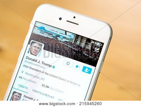 JYVASKYLA FINLAND - JUNE 13 2017: Close up of mobile phone screen with the Twitter account of Donald Trump. The American President has over 32 million followers on Twitter. Illustrative editorial.