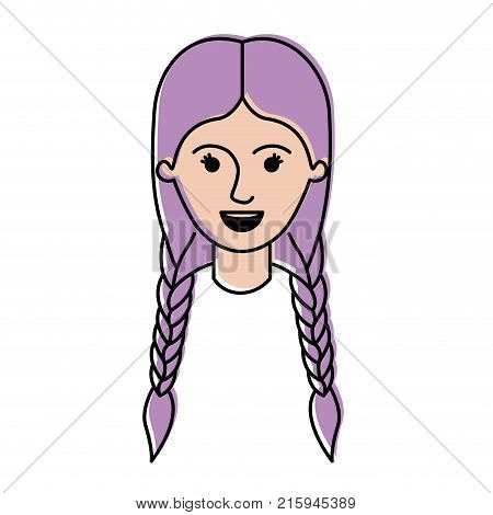 female face with braided hair in watercolor silhouette vector illustration
