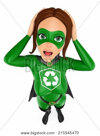 3d environment people illustration. Woman superhero of recycling surprised with hands on her head. Isolated white background.