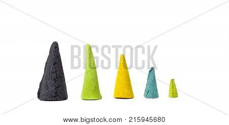 Diferent Sizes of Colorful Incense Cones Isolated on White Background.