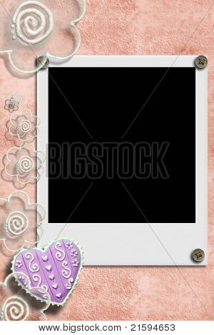 Frame picture with heart and flowers