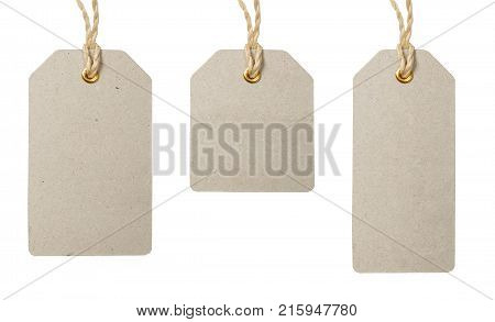 Price tags on strings set. Isolated on white background. Blank sale or price tag made of cardboard. Graphic design element for catalogue, webshop,