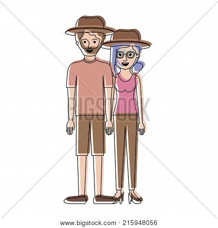 couple in watercolor silhouette and both with hat and him with beard with t-shirt and short pants and shoes and her with glasses t-shirt sleeveless and pants and heel shoes with collected hair and fringe vector illustration