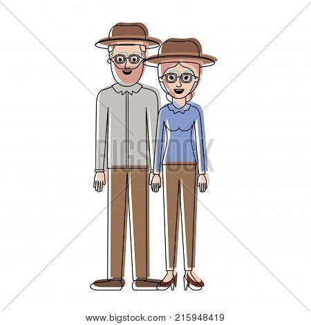 couple in watercolor silhouette and both with hat and glasses and him with beard and shirt and pants and shoes and her with blouse long sleeve and pants and heel shoes with collected hair vector illustration