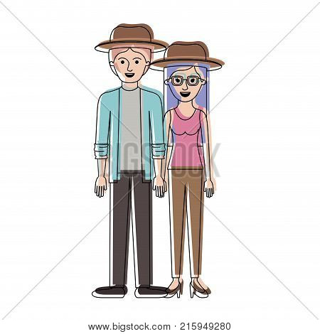 couple in watercolor silhouette and both with hat and pants and him with shirt and jacket and pants and shoes and her with blouse and heel shoes with long straight hair vector illustration