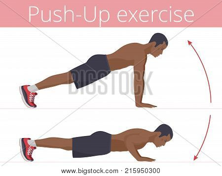 The sporty afro-american man in the sportswear is doing the push-up exercise. Flat illustration of young strong boy training in push up. Vector active people set for sport, fitness design, infographic