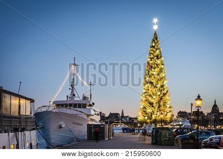 STOCKHOLM SWEDEN - DECEMBER 27 2016: The Kinnevik traditional large Christmas tree at Skeppsbron Stockholm. Known as the tallest Christmas tree in the world