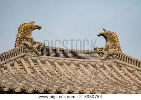 Ornated decorations atop temples built during the Ming Dynasty.
