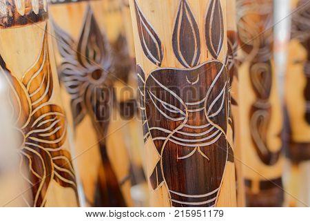 Cane masks maska made of cane handicrafts on display during the Handicraft Fair in Kolkata - the biggest handicrafts fair in Asia.