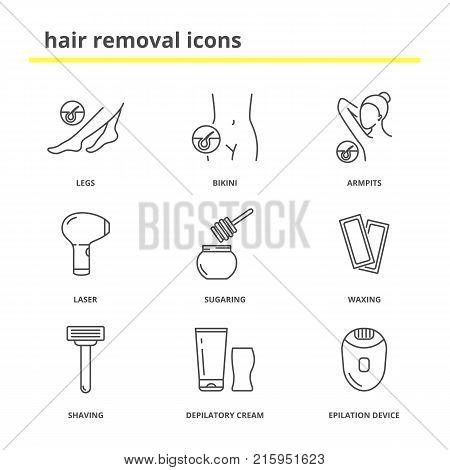 Hair removal icons: Legs, bikini, armpits, laser, sugaring, waxing, shaving, depilatory cream, epilation device