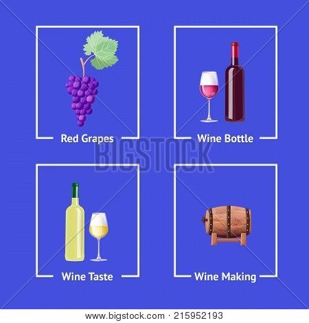 Red and white wine making process set of icons with grapes, bottles and barrel. Vector illustration with alcohol beverage producing scheme on purple background