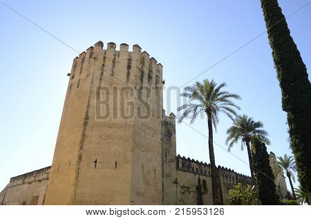 Tower and exterior wall of the Alcazar in Cordoba Andalusia Spain.