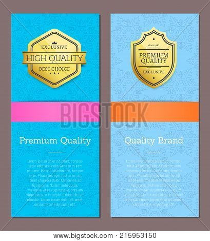 Premium quality brand high end check promo golden labels set of logos design on colorful posters with text vector illustrations collection