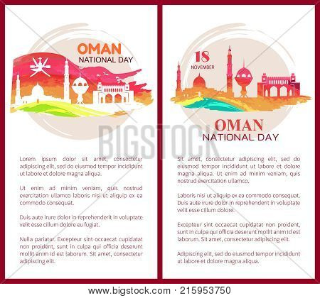 Oman national day 18 november, set of posters with images of mosques and flags, text sample and headline vector illustration isolated on white