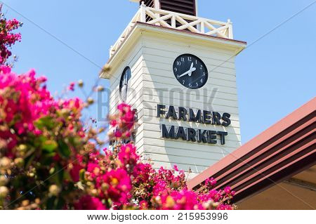 LOS ANGELES USA - AUGUST 19 2017: The Farmers Market tower in Los Angeles. The market area offers over a hundred vendors and is open seven days a week. Editorial.