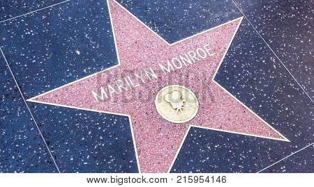 LOS ANGELES USA - AUGUST 20 2017: Marilyn Monroe's star in the Hollywood Walk of Fame. Monroe received the star in 1960. Editorial.