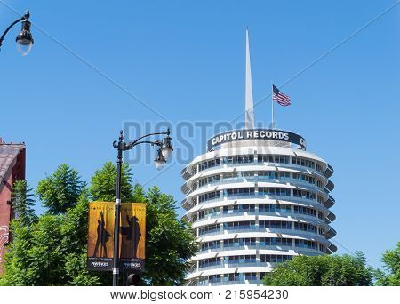 LOS ANGELES USA - AUGUST 20 2017: The Capitol Records Tower in Hollywood. Capitol Records is an American major record label. Editorial.
