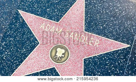 LOS ANGELES, USA - AUGUST 20, 2017: Adam Sandler's star in the Hollywood Walk of Fame. Sandler received the star in 2011. Editorial.