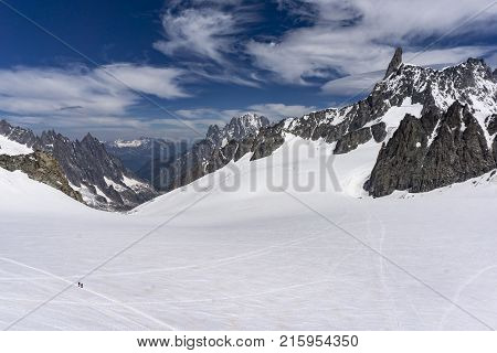 View of the Dente del Gigante in the Mont Blanc massif.
