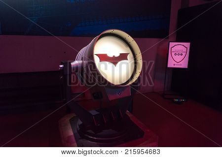 LOS ANGELES USA - AUGUST 24 2017: Batman's bat signal light and logo in Warner Bros Studio Tour. The famous superhero was created by Bob Kane and Bill Finger. Editorial.