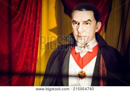 LOS ANGELES USA - AUGUST 25 2017: Dracula in Hollywood Wax Museum. The fictional character first appeared in Bram Stoker's horror novel in 1897. Editorial.