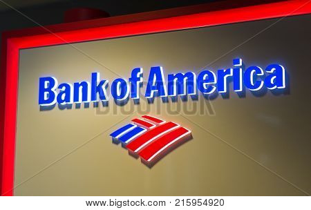 LOS ANGELES USA - AUGUST 28 2017: The logo of Bank of America in LAX airport. Bank of America is a banking and financial services corporation. Editorial.
