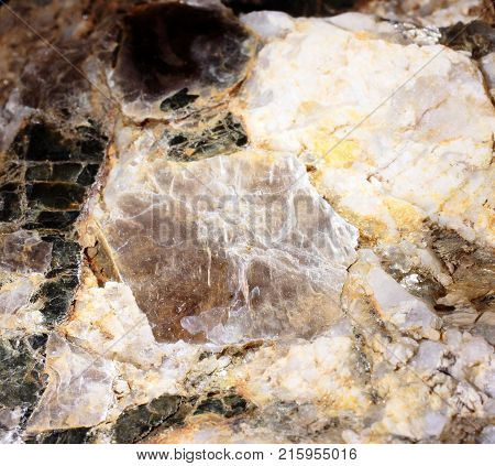 Closeup photograph of two mica pegmatite mineral with yellow details. Natural phenomenon.