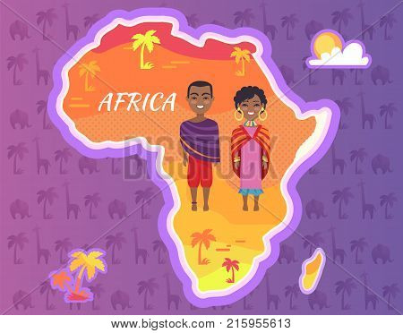 Africa continent vector with african people in national cloth, afro-american man and woman on background of map with palms on seamless pattern