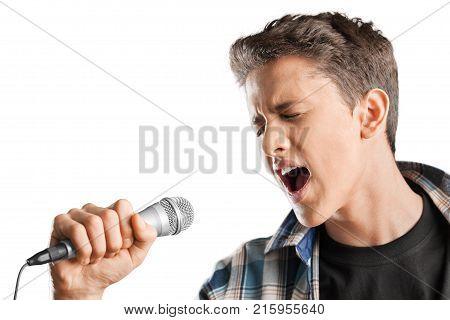 Young boy mic microphone fun white entertainment