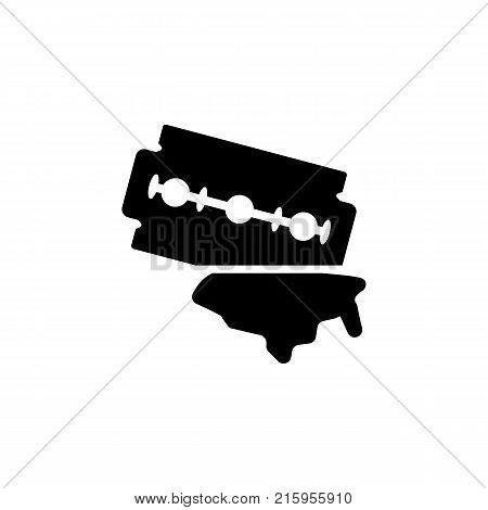 Watercolor double edged razor blade isolated icon on white background