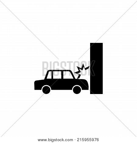 Car crash auto crashes into the wall icon on white background