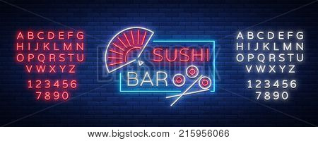 Sushi logo in neon style. Bright neon sign with text is isolated. Bright billboard billboard, restaurant advertising bar of Japanese food sushi. Vector illustration. Editing text neon sign.