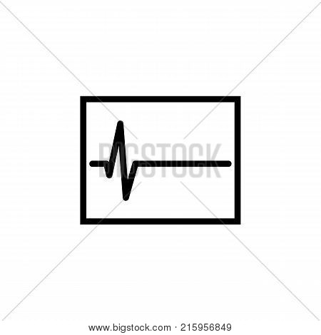 electrocardiogram graph indicating heart rhythm icon on white background
