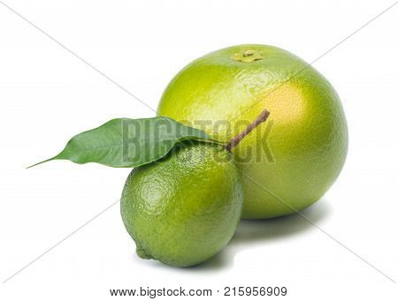 Sweetie with lemon and branch isolated on white background