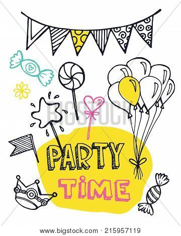 Hand drawn doodle party time set. Party time!