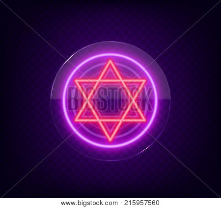 Star of David, neon sign. The symbol of Judaism. Vector illustration. Neon sign on transparent glass.