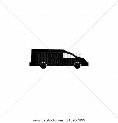 Coffin transport. Hearse car icon on white background